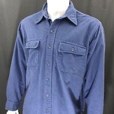 Ll Bean Vintage Button Front 2 Chest Pocket Blue Ls Shirt Men's 16 1/2 Large
