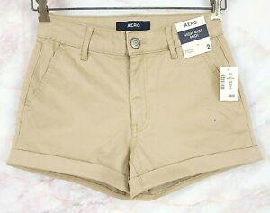 "NWTs Aero Womens Twill Shorts Sz 2 Khaki Beige High Rise Midi Stretch 3"" Inseam"