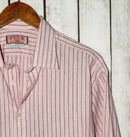 THOMAS PINK Men's French Cuff Dress Shirt Pink Striped Size 17 1/2 - 35 1/2