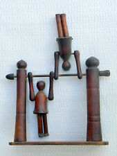 ANTIQUE WOODEN HANDMADE CHILDRENS SWING TOY CIRCA 1890