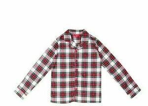 Family PJs Kid's Matching Pajama Top ONLY White Stewart Plaid 14-16