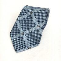 "Express Blue Silver Geometric 100% Italian Silk Men's Neck Tie 3.75"" USA Made"