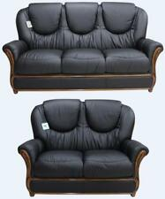 Juliet 3 Seater + 2 Seater Italian Leather Two Piece Sofa Suite Black
