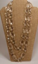 Chandelier Prisms? Clear Lucite? Plastic Beaded Double Strand Necklaces Faceted