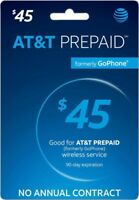 AT&T - AT&T Prepaid $45 Refill Top-Up Prepaid Service ,AIR TIME  PIN / RECHARGE