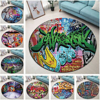 Urban Vintage Graffiti Pattern Area Rugs Round Bedroom Carpet Non-slip Floor Mat