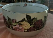 Large Victorian Trading  Company Bowl With Roses ..words around interior of bowl