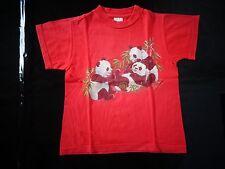tee-shirt rouge 6 ans à manches courtes avec pandas