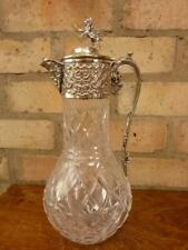 More details for a nice antique wine claret water jug pitcher silver plated and glass lion finial