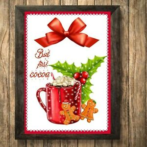 Hot Chocolate Print Sign,Christmas Picture Cocoa Coco Decoration A4 Unframed