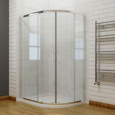 Quadrant Shower Enclosure Walk in Corner Cubicle Glass Screen Door Tray Waste 900x760mm Left Hand Yes-plinth