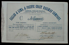 Callao & Lima, Pacific Coast Railway Company, Five Shares 1850