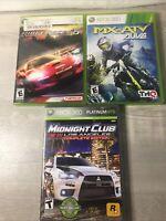 Xbox 360 Racing Game Lot 3 Midnight Club, Ridge Racer 6, Mx Vs ATV - 2 Complete