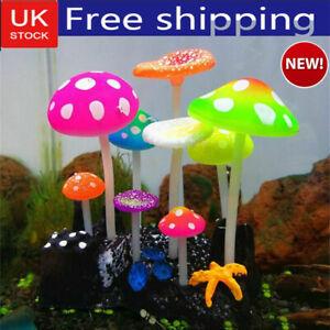 9pcs Aquarium Fish Tank Ornament Decoration Fluorescent Artificial Plants Deceor