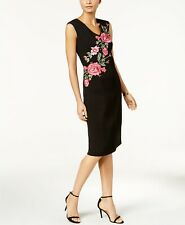 Ivanka Trump Women's Black Print Floral-Compression Embroidered Sheath Dress