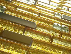 NEW LUXURY GOLD FOIL GLASS & METAL LONG RECTANGLE BRICK MOSAIC WALL TILES 8MM