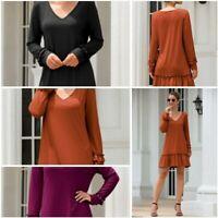 Dresses Dress Party Solid Short Autumn Mini Long Sleeve V Neck Tops T-Shirt