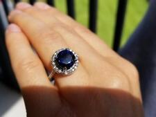 New Round Cut Natural 3.50ct Sapphire & Diamond Engagement Ring 18k White Gold
