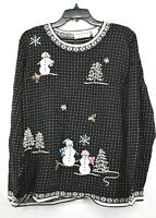 Alfred Dunner Women Black Snowman Embroidered Crew Neck Christmas Sweater 1X