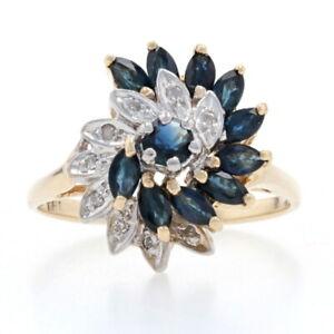 Yellow Gold Sapphire & Diamond Swirl Cluster Ring - 10k Marquise Cut 1.36ctw