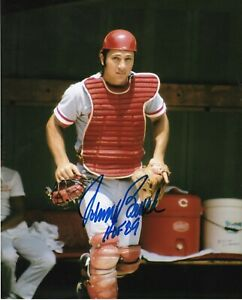 JOHNNY BENCH  CINCINNATI REDS  HOF 89   ACTION SIGNED 8x10