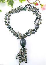 Vintage / Vtg Style Green stone chip Statement Tassel Necklace - Jade Agate
