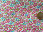 coupon de tissu PUR coton FOND blanc FLEURI ROSE : 3.00 m ; F 5