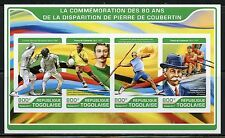 TOGO  2017  80th MEMORIAL OF PIERRE de COURBETIN OLYMPICS FOUNDER IMPF SHT  MINT