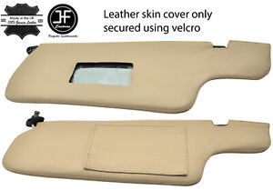 BEIGE  REAL LEATHER 2X SUN VISORS COVERS FITS NISSAN 300ZX Z31 1984-1989