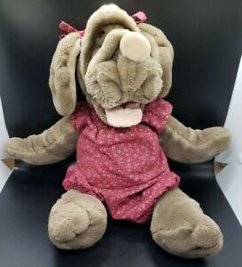 """Vintage Ganzbros GANZ Wrinkles Dog Puppet 1981 floral Clothing 16"""" Plush Girl"""