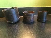 3 Vintage Indian Hand Made Steel Riveted Metal Rice Grain Measures Pots