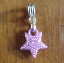 pendentif argenté étoile violette 17x15 mm