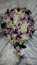 Orchid wedding flowers 24pc set. Cascade bouquet