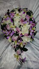 Orchid wedding flowers 24pc set. Cascade bouquet
