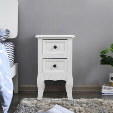 New ListingDual-Drawer Wooden Nightstand Side Table Bedroom Living Room Furniture, White
