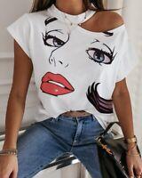 Women Ladies One Shoulder Print T-Shirt Tops Summer Blouse Short Sleeve Tshirt