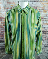 TOMMY BAHAMA MEN STRIPE COTTON LONG SLEEVE CASUAL SHIRT SIZE L  A16-15