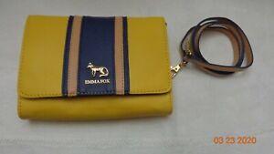 Emma Fox Waterbury Leather Crossbody Purse Yellow Navy Blue Gold tone