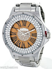 King Master Men's CZ Stone Orange Dial Stainless Steel Silver Watch