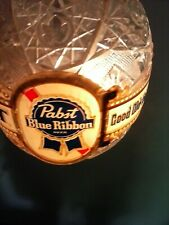 Vintage Rare Pabst Blue Ribbon Pbr Spinning Faux Crystal Globe Wall Sconce Clear