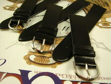 NOS 20mm CLASSIC MENS DRESS WATCH BAND SEMI GLOSS BLACK LEATHER LOT GROUP OF 3