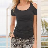Da Donna, Estate T-Shirt Manica Corta Maglia Casual Cut Out Spalle Scoperte
