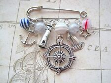 LIGHTHOUSE KEEPERS PIN CHARM BROOCH Anchor Stripe Bead Blue Red White Compass