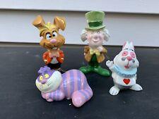 Disney Figurines Alice In Wonderland Set of 4 Hatter Cat Rabbit Hare