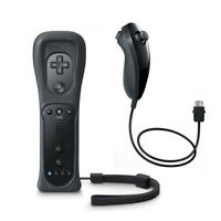 Built in Motion Plus Remote Controller And Nunchuck For Nintendo Wii&Wii U Black