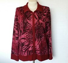 Susan Graver Sweater Jacket Coat New Womens Pink Maroon Black Full Zipper Sz 1X