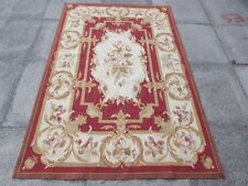 Old Hand Made French Design 6x4 Wool Maroon Red Original Aubusson 186X122cm