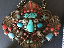Old Tibetan Medallion with Red Coral & Turquoise on Chain …beautiful collection