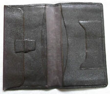 VINTAGE DARK BROWN LEATHER BI FOLD WALLET DRIVING LICENCE CASH 1960s 1970s MOD