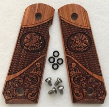 1911 Full Size Grips Colt Sig Kimber S&W Para Ord. Solid Rosewood Scroll & Eagle